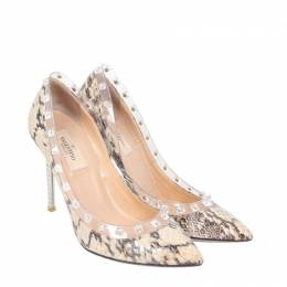 Valentino Pink Python Leather Rockstud Pumps Size 37 188218