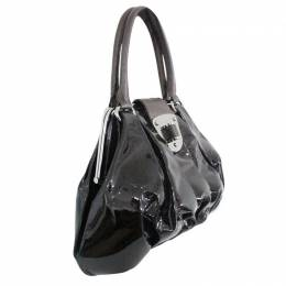 Alexander McQueen Black Patent Leather Pleated Embellished Bag 189096