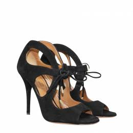 Aquazzura Black Suede C'est Chic heel Sandal Size 36 189799