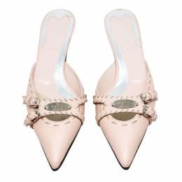 Fendi Pastel Pink Pointed Toe Heeled Mules Size 36 189240