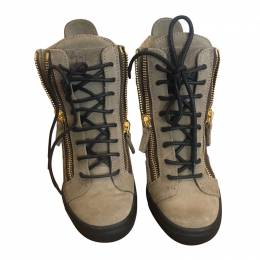 Giuseppe Zanotti Design Olive Green Leather Zipper Wedge Sneakers Size 37.5