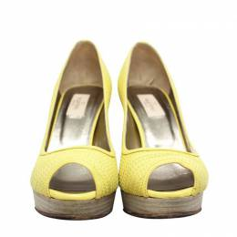 Valentino Mustard Leather Peep Toe Pumps Size 37 187977
