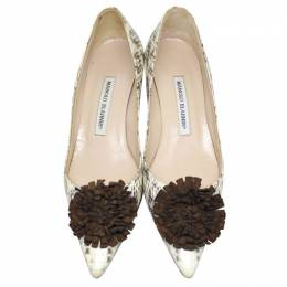 Manolo Blahnik White Python Leather Pointed Toe Pumps Size 36.5 187971