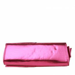 Christian Louboutin Pink Metallic Fabric Clutch