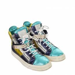 Giuseppe Zanotti Design Multicolor Metallic Leather High Top Sneakers Size 37.5