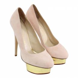Charlotte Olympia Pink Suede Dolly Platform Pumps Size 38 188643