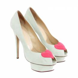 Charlotte Olympia White Suede Delphine Peep Toe Pumps Size 38 188642