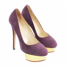 Charlotte Olympia Purple Suede Dolly Puttin On The Glit Platform Pumps Size 38 188641