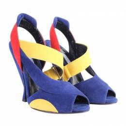Prada Tri Color Block Suede Heel Sandals Size 36 191480