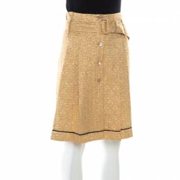 Prada Gold Floral Embossed Jacquard Belted Pleated Midi Skirt S 176092