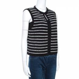 Ch Carolina Herrera Monochrome Striped Knit Vest M 269858