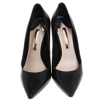 Sophia Webster Black Leather Crystal Embellished Heel Coco Pumps Size 41 - 2