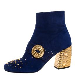 Prada Blue Suede Studded Metallic Block Heel Ankle Boots Size 38.5 269908