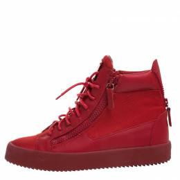 Giuseppe Zanotti Design Red Canvas and Leather London High Top Sneakers Size 43.5