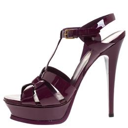 Saint Laurent Red Patent Leather Tribute Platform Sandals Size 39 269228