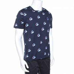 Kenzo Navy Blue Printed Cotton Logo Detail Crew Neck T-Shirt L 269441