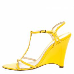 Fendi Yellow Leather Wedge Ankle Strap Sandals Size 38 269267