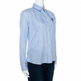 Ch Carolina Herrera Blue Striped Four Dot Print Cotton Shirt M
