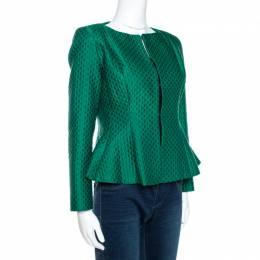 Ch Carolina Herrera Green Embossed Jacquard Peplum Jacket S 269884