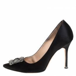 Manolo Blahnik Black Satin Hangisi Pointed Toe Pumps Size 39.5 269412