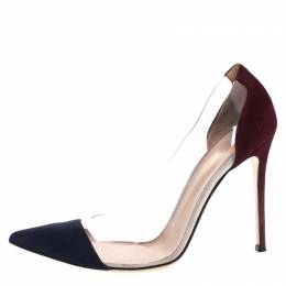 Gianvito Rossi Blue/Burgundy Suede And PVC Plexi Pumps Size 40 269410