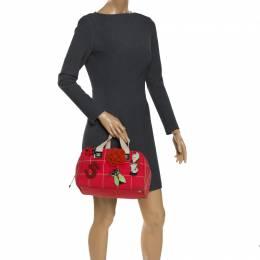 Chanel Red Chocolate Bar Canvas No. 5 Medium Boston Bag 269327