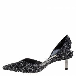 Nicholas Kirkwood Black/White Tweed Fabric Polly Bouclé Slingback Pointed Toe Sandals Size 41 268974