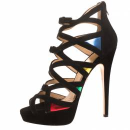 Charlotte Olympia Black Suede Elvira Strappy Platform Sandals Size 40 269282