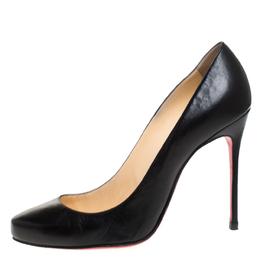 Christian Louboutin Black Leather Simple Pumps Size 38.5 269999