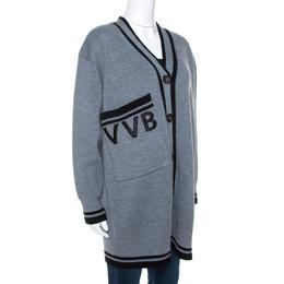 Victoria, Victoria Beckham Grey Wool Button Front Cardigan S 269369