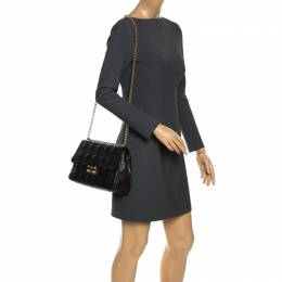 Dior Black Cannage Leather Miss Dior Medium Flap Bag 269390