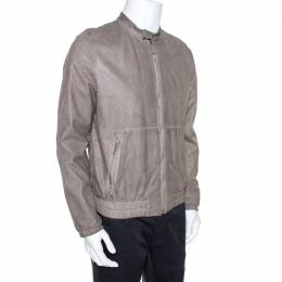 Prada Grey Leather Zip Front Bomber Jacket L 269950