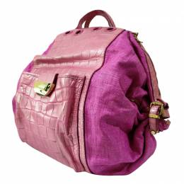 Versace Pink Embossed Leather And Raffia Darling Backpack 265915