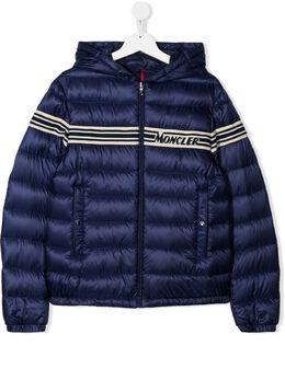 Moncler Kids стеганая куртка с жаккардовым логотипом 1A12020C0465