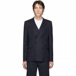 Random Identities Navy and White Wool Pinstripe Double-Breasted Blazer T-08