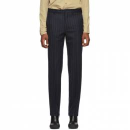 Random Identities Navy and White Wool Classic Trousers T-09