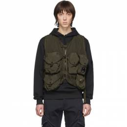 C.P. Company Green 50 Fili Zip Up Vest 08CMOW023A-005153G