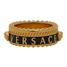 Versace Gold and Black Logo Band Ring DG57927 DJMS