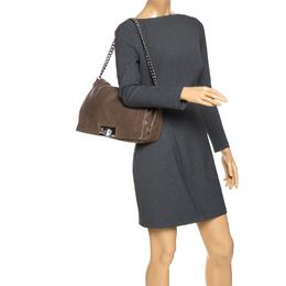 Celine Dark Beige Wrinkled Leather Flap Shoulder Bag 270119