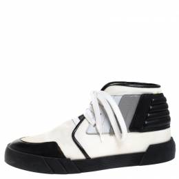 Giuseppe Zanotti Design Black/White Canvas and Leather Foxy London High Top Sneakers Size 43.5