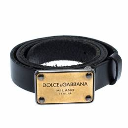Dolce&Gabbana Black Leather Logo Plaque Belt 85CM