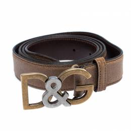 Dolce&Gabbana Light Brown Leather Logo Belt Size 100CM