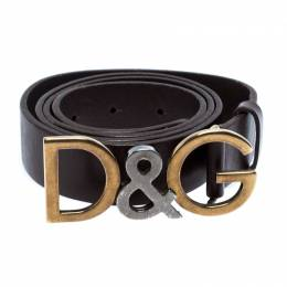 Dolce&Gabbana Brown Leather Logo Belt Size 100CM
