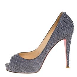 Christian Louboutin Grey Python Leather New Very Prive Peep Toe Pumps Size 39