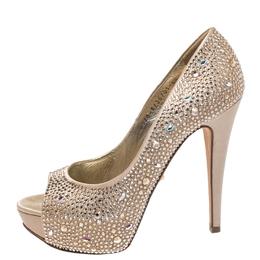 Gina Beige Satin Swarovski Crystal Embellished Peep Toe Platform Pumps Size 38.5 270231