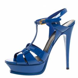 Saint Laurent Blue Patent Leather Tribute Platform Sandals Size 40 270220