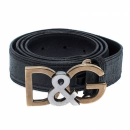 Dolce&Gabbana Black Leather Logo Belt Size 95CM
