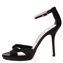 Jimmy Choo Black Satin Macy Ankle strap Sandals Size 39 265849