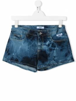 MSGM Kids джинсовые шорты с принтом тай-дай 022105