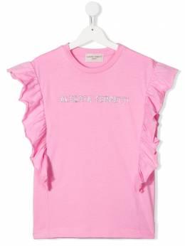 Alberta Ferretti Kids футболка с оборками на рукавах 024337